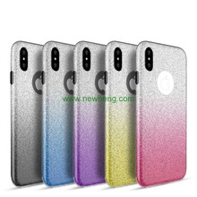 New 3 in 1 bling glitter tpu back cover case for iphone X