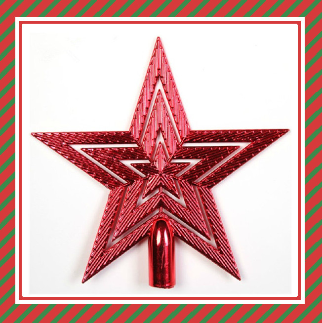 Plastic Christmas decoration stars christmas tree top red star