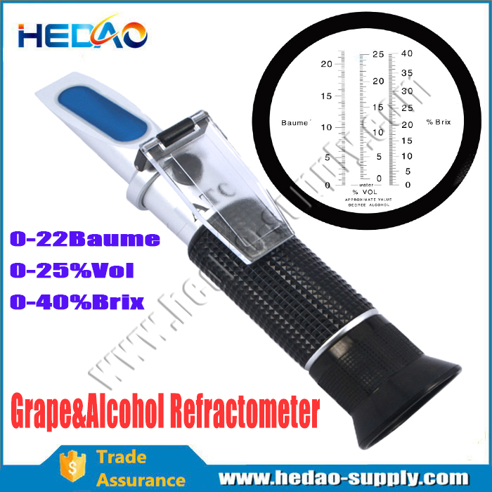 Newest good 3 In 1 Grape & Alcohol Refractometer hand held refractometer price