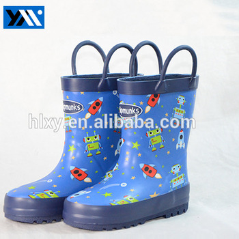 OEM service cartoon printed blue cute children rubber rain boots for boys