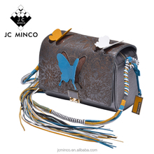 Luxury designer branded korea crystal cow leather colorful floral carving women handbag butterfly flap ladies crossbody bag