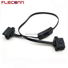 16 Pin Straight Male to Female ODB2 OBDII Diagnostic Cable with Power Switch
