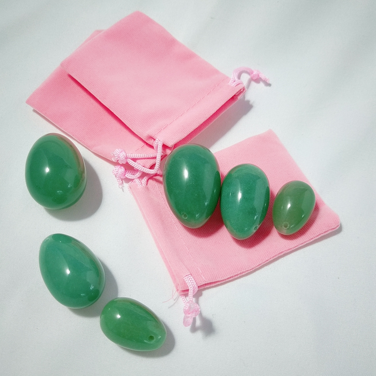 China Best Price 3 pcs set jade yoni eggs with instructions natural green aventurine