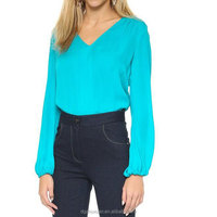 High Quality Silk Chiffon Blouse Long Sleeve V-Neck Lady Office Solid Color Shirt