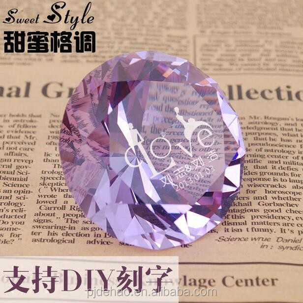 Noblest Decorative Purple K9 Crystal Glass Diamond for Lovers Gift