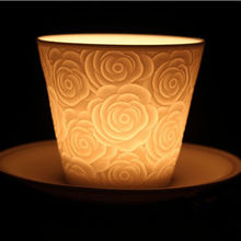Hand drawing white porcelain candle holders