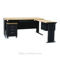 Hot Selling L Shape Steel Office Desk with Wooden Top
