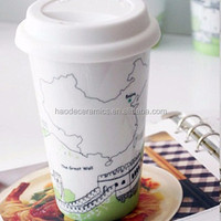 ceramic great wall of China tourist souvenir white travel mug with silicone lid and sleeve