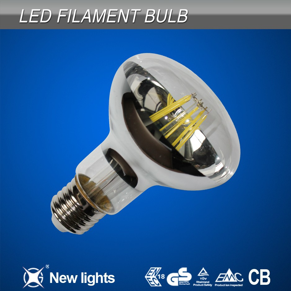 Dimmable and non-dimmable AC 85-265V CE RoHS E27 lamp led filament bulb r80