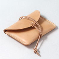 Personal manual made natural color veggie tan real cow leather credit card holder wallets with string closer Guangzhou factory