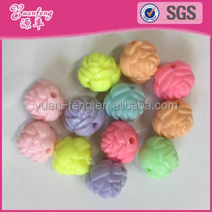 Hot wholesale factory price jewelry necklaces rose shaped plastic beads for rosary making