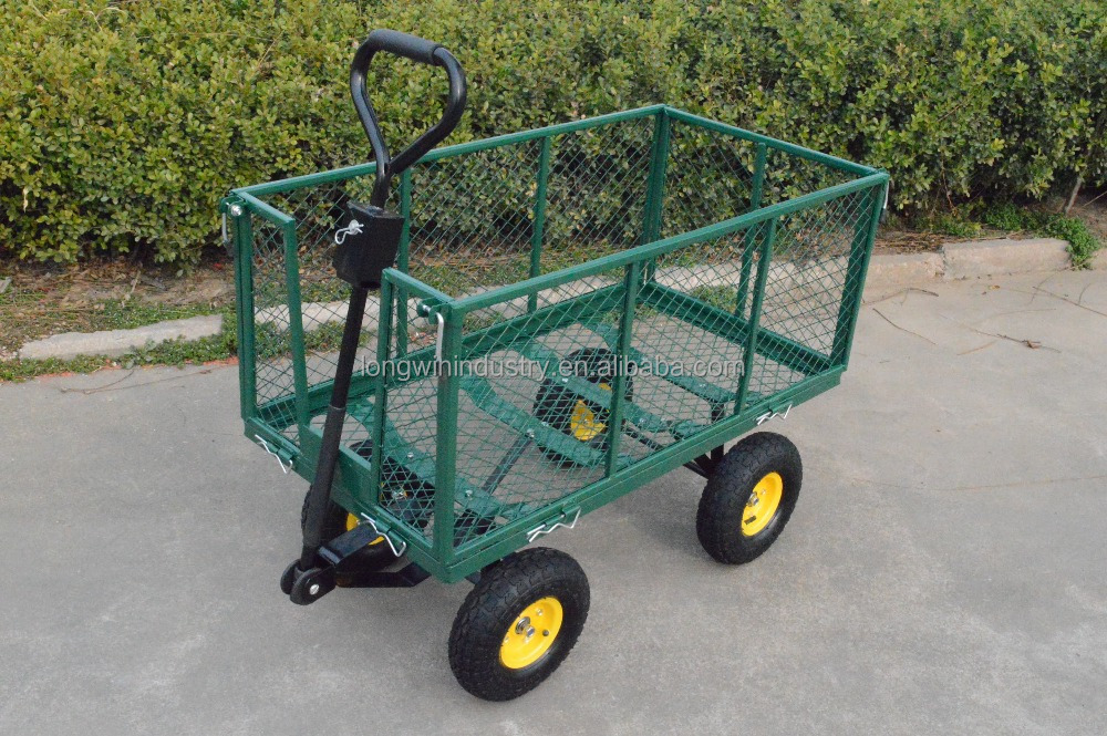 heavy duty mesh garden metal cart , utility folding beach wagon