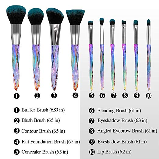 2019 new brushes low MOQ custom logo crystal makeup brushes clear diamond cosmetic brush set