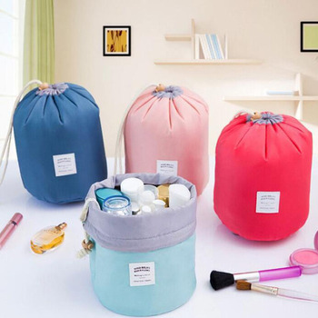 Foldable cloth home storage box drum cosmetic bag make up storage bags