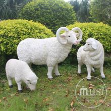 Fram Decoration Home Use Life Size Fiberglass Sheep Sculpture