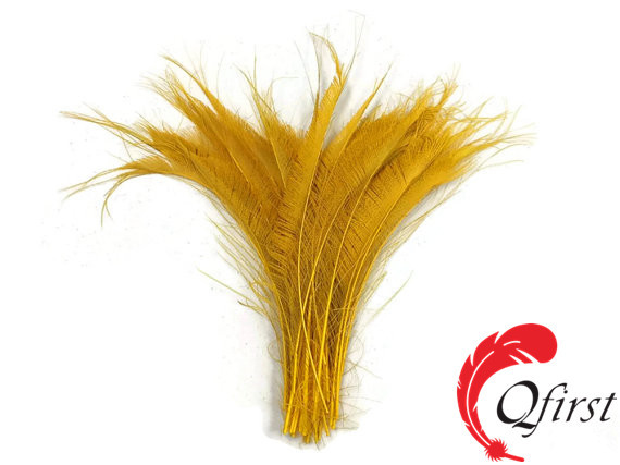 Wholesale cheap plumes bleached golden yellow peacock swords cut feathers