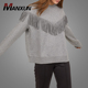 Hot Sell Crew Neck Plain Grey Long Sleeve Hoodies Sweatshirts Wholesale Custom Fitted 100% Cotton Hoodies With Fringe