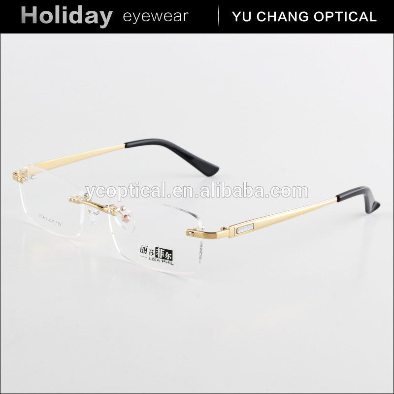 Fashion cheap rimless optical frame fancy metal alloy italy design rimless reading glasses