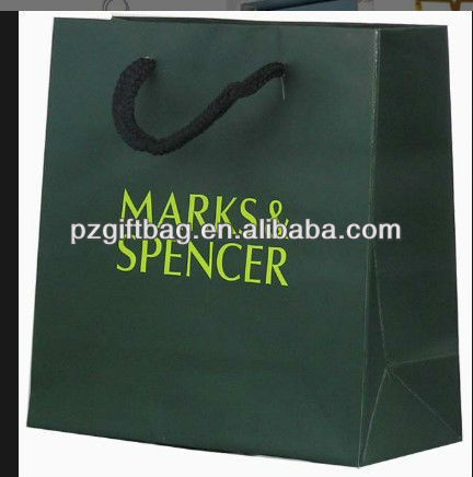 deep green marks luxury branded paper bag