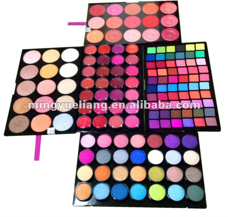 4 layer makeup eyeshadow palette, blusher & face powder & eyeshadow & lip stick set palette