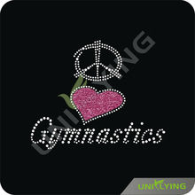 Custom glitter peace love gymnastics rhinestone transfers