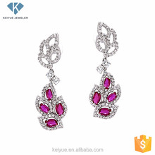 Cheap jewelry red gemstone earrings wholesale
