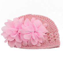 Hot sales European and American children's hats Handmade Winter Soft Stretch Crochet Knit Hat With Double Flowers