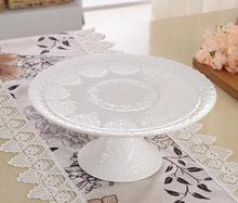 12'' Relief High Foot White Porcelain Plate Cake Pie Fruite Plates Ceramic Plates Dishes Sugar Candy Dessert Tray
