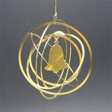 round shape 3d custom brass ornament with bell hanging