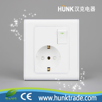 light 1gang switch and EURO schuko socket outlet for Nepal Pakistan wall switch socket