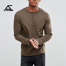 2017 new fashion long sleeve 100% Cotton crew neck mens t shirts pocket