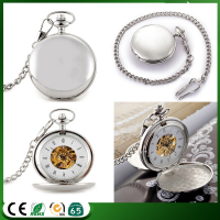 D01460o High quality polished blank watch case skeleton mechanical pocket watch,two-way opening men pocket watch