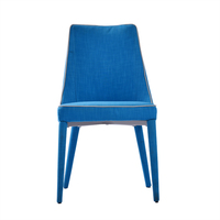 Modern simple fashion design high back blue fabric woven cover metal KD comfortable dining chair