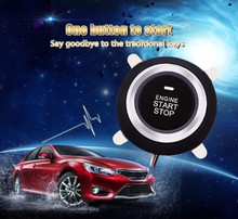 New push start button start/stop car engine function working car alarm system with remote central lock blue color back light