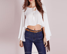 Sunshine girl pur chiffon special design women sleeve blouse tops
