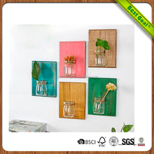 Home and Office Decoration Art Wooden Wall Hanging Clear Glass Vase