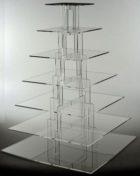 7 tier transparent acrylic square wedding cake stands