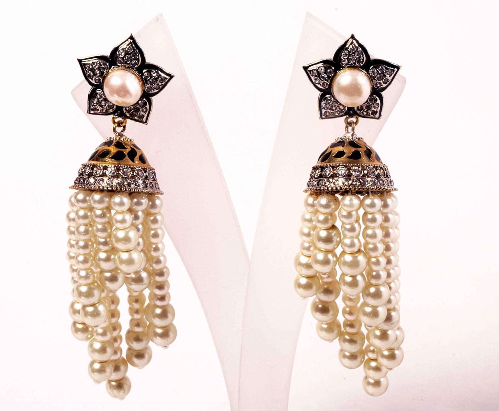 victorian jhumki pearls hanging style high quality pattern