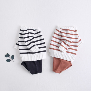 2019 autumn baby clothes two-year-old boy baby suit striped long-sleeved shirt baby shorts two-piece suit