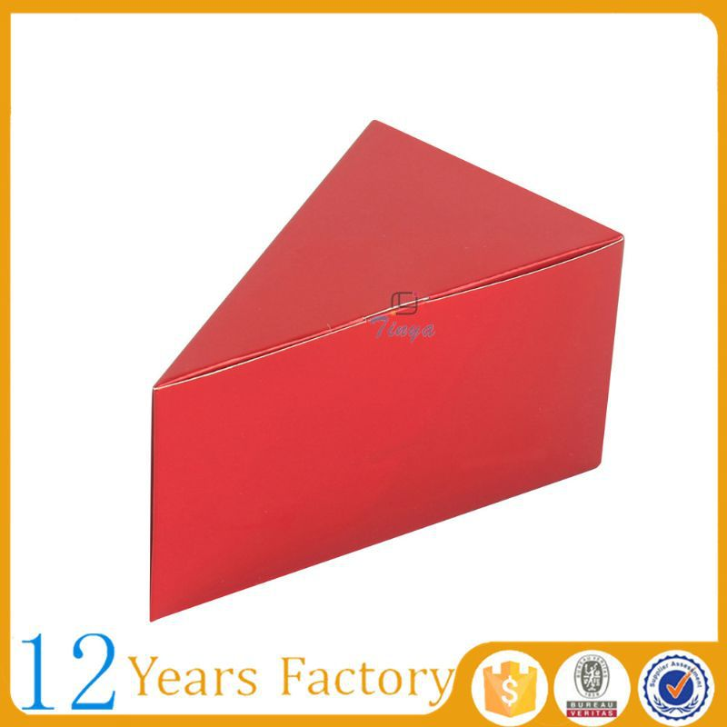 red custom size paper triangle shipping boxes