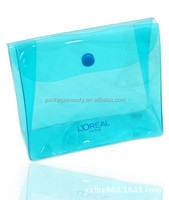 Clear transparent frosted matte PVC bag with custom printed design and logo