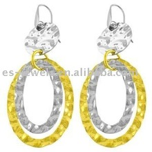 14k Yellow Gold Over Hammered Stainless Steel Dangle circle Earring