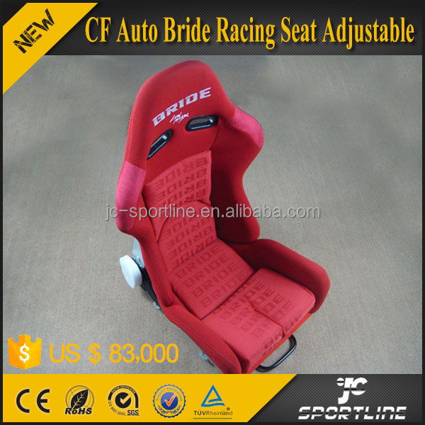 JC Sportline Hot Carbon Fiber Auto Bride Racing Seat Adjustable Seats Red and Fabric