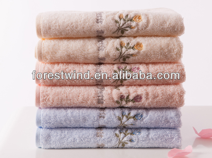 100% organic cotton material hand towels silk thread embroidery pattern wholesale