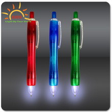 2015 hot sale plstic flashing led press ballpoint pen wholesale with factory price