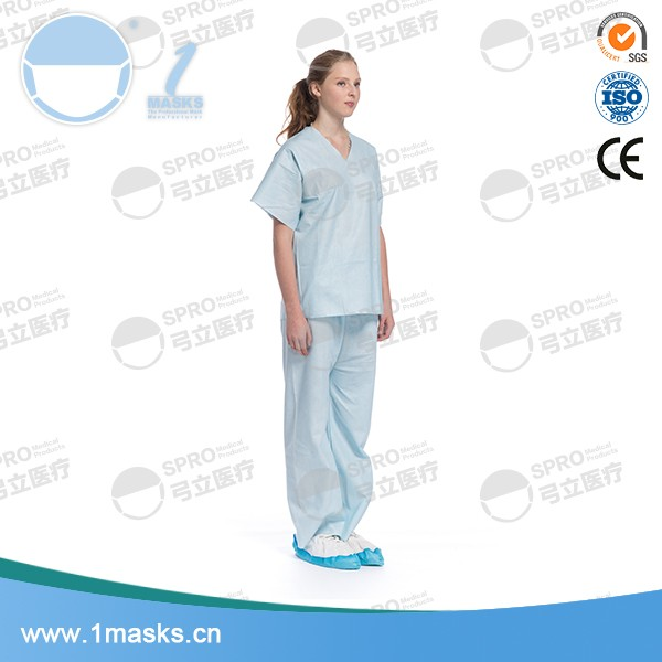 Doctor female 60g spunlace material blue medical uniform scrub suit
