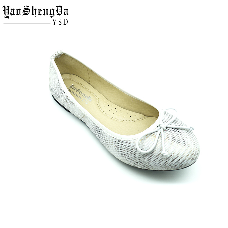Factory Price Color Changing Shiny Ballet Silver Flat Shoes For Ladies