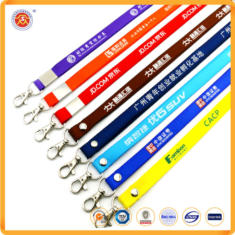 Blank Flat Woven Nylon Neck Lanyards Straps Strings Cords with Plastic Safe Lock Buckle for ID Tags