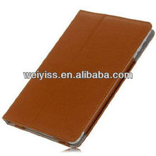 Brown Protective Leather Book-style Case Cover with Stand for iPad mini