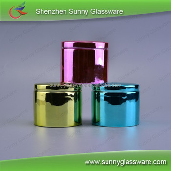Colorful round electroplating bowl candle jars with lid